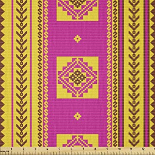 Ambesonne Ethnic Fabric by The Yard, Summer Inspired Pattern with Geometric and Traditional Ornaments, Stretch Knit Fabric...