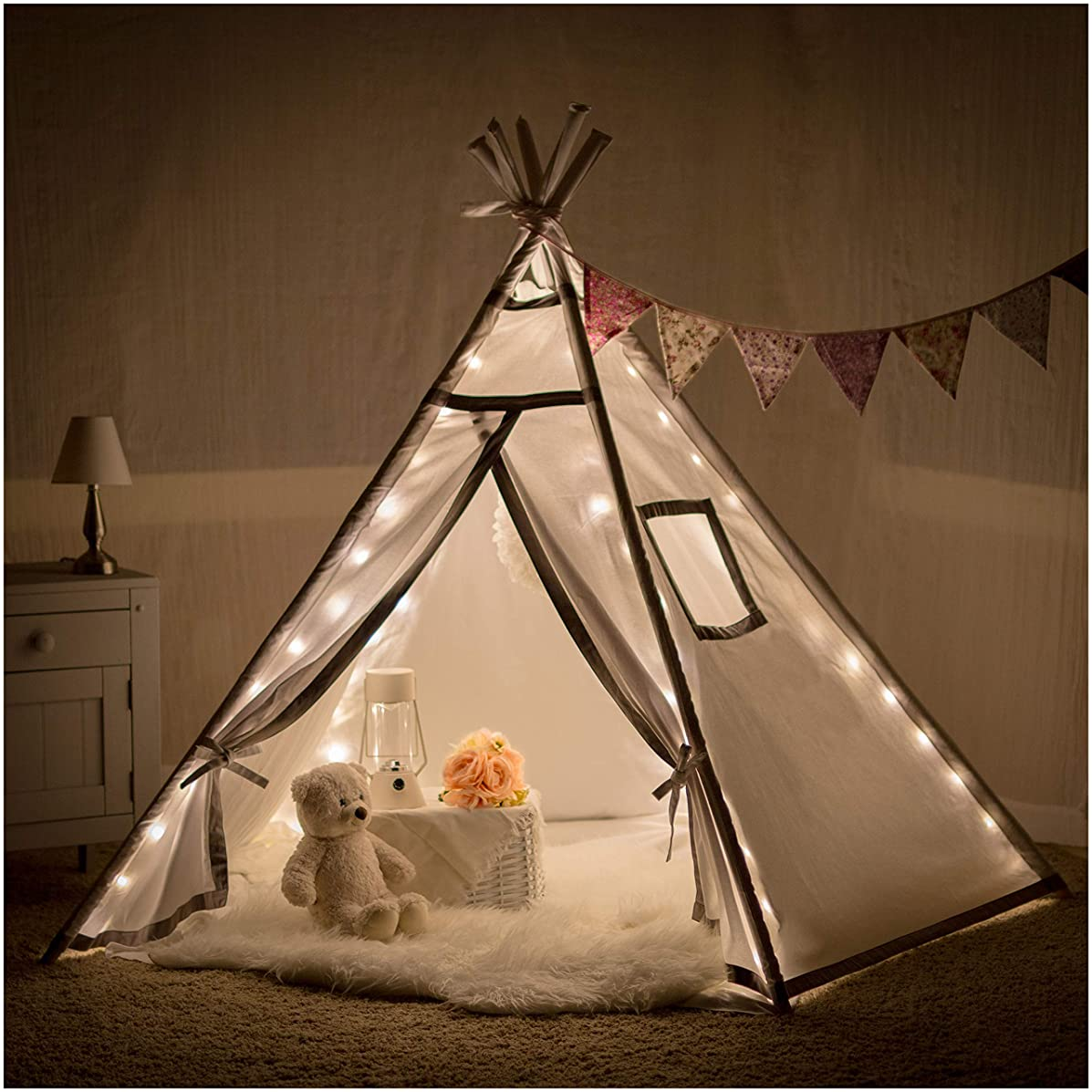 Teepee Tent for Girls, Boys - Twinkle Lit Teepee | Fairy Lights Included | Tipi Tent Kids Will Love for Indoor Reading and Imaginative Play | For Children and Toddlers Ages 3 and up | White, Grey Trim