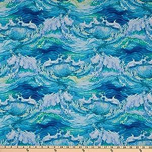 Studio E Fabrics The Lightkeeper's Quilt Crashing Waves Aqua Fabric by The Yard