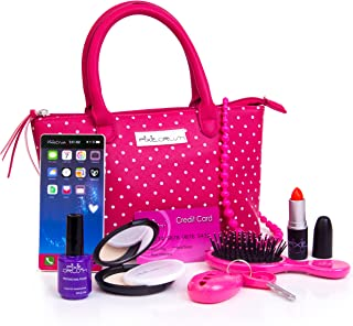 PixieCrush Pretend Play Kid Purse Set for Girls with Handbag, Pretend Smart Phone, Keys with Remote, Pretend Makeup, Lipstick – Interactive & Educational Toy (Pink Polka dot)
