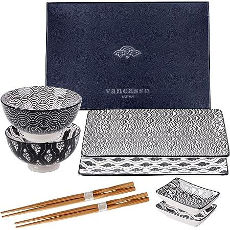 vancasso, série Haruka, Service de Sushi, 2 Assiette à Sauce, 2 Assiette Plates Rectangulaires et 2 Baguettes 2 Bols Japonais pour 2 Personnes- Cadeau Coffret