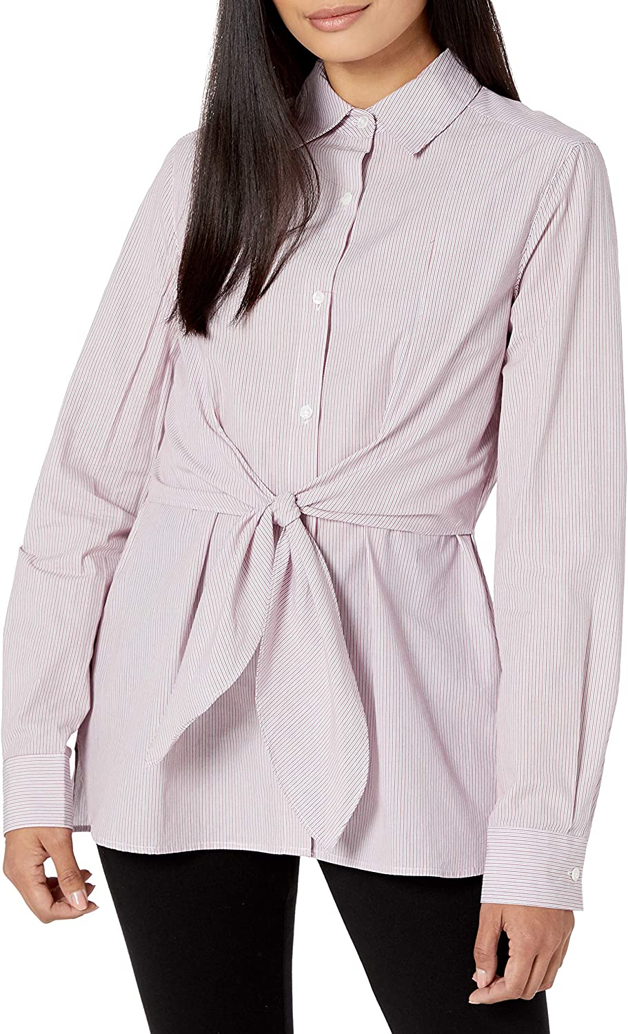 Lark & Ro Women's Standard Woven Collared Top W/Roll Up Sleeve with Button