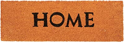 "Relaxdays Narrow Coir Doormat ""Home"" Print Anti-Slip Rubber PVC Underside Long Welcome Mat for The Balcony, Patio, Hallway, etc 1.5 x 75 x 25 cm, Orange"