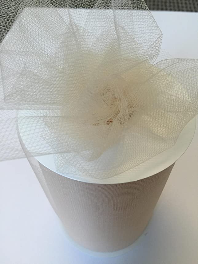 Tulle Fabric Spool/Roll 6 inch x 100 yards (300 feet), 34 Colors Available, On Sale Now! (beige)
