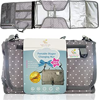 Rhythm Star Baby–Large Portable Changing Mat Diaper Clutch Bag–Multiple Pockets, Support Pillow,Baby Travel Changing Pad–(43x12)inch Gray & White Unisex Star Design – BONUS Shoulder Strap| Car Sticker