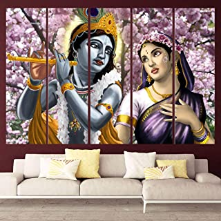Kyara arts Multiple Frames, Beautiful Radha Krishna with Flowers Wall Painting for Living Room, Bedroom, Office, Hotels, D...