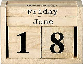 Bloomingville Paulownia Wood Perpetual Calendar, Brown