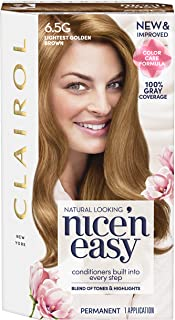 Clairol Nice' n Easy Permanent Hair Color, #6.5G Lightest Golden Brown