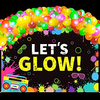 WATINC 104pcs Neon Party Supplies Include LET'S Glow Banner and Fluorescent Balloons Chain, Glow Party Theme Backdrop for ...