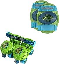 PlayWheels Teenage Mutant Ninja Turtles Roller Skates with Knee Pads, Green/Blue, Junior Size 6-12