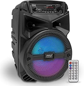 """Portable Bluetooth PA Speaker System - 240W Rechargeable Outdoor Bluetooth Speaker Portable PA System w/ 6.5"""" Subwoofer 1"""" Tweeter, Microphone in, Party Lights, MP3/USB, Radio, Remote - Pyle PPHP634B"""