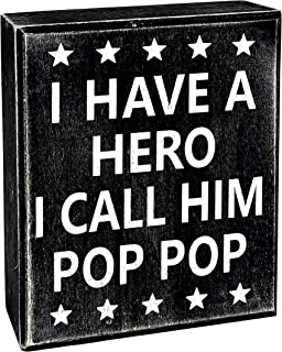 JennyGems Poppop Gifts Series - I Have A Hero I Call Him Pop Pop - Stand Up Wooden Sign - Unique Pop Pop Father's Day, Birthdays - Pop Pop Presents