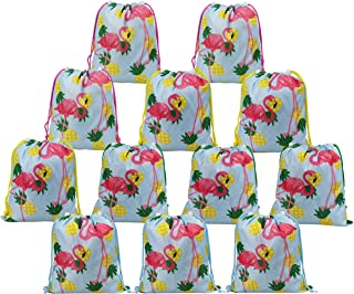 BeeGreen Hawaiilian Luau Flamingo and Pineapple Party Supplies Bags for Kids Girls Boys 12 Pack, Drawstring Gifts Pouch for Birthday Party Favors