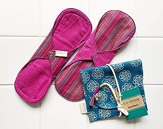 南インド「Eco Femme」布ナプキン (肌面色付・防水あり)普通の日2枚+ポーチ GOTS認定品