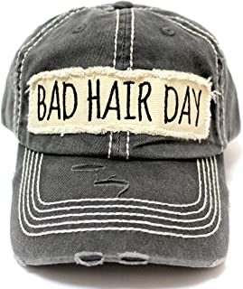 Women's Hat Bad Hair Day Embroidery Patch on Distressed Cap, Graphite Black