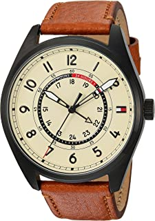 Tommy Hilfiger Men's Casual Sport Quartz Watch with Leather Calfskin Strap, Brown, 23 (Model: 1791372)