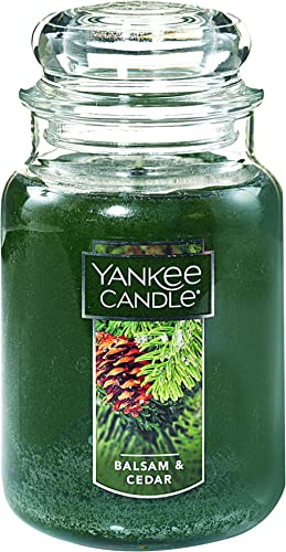 YANKEE CANDLE 1062314Z Large 22-Ounce Jar Candle, Balsam & Cedar, Glass, Green, Large Jar Candle