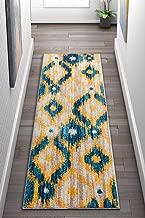 Well Woven Global Bohemian Ikat Blue & Yellow Vibrant Modern Tribal Pattern Area Rug 2x7 (2'3