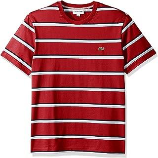 Lacoste Men's S/S Striped Jersey T-Shirt Shirt, red/Creek/White/Navy Blue, 3XL