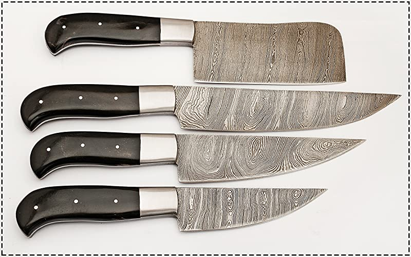 Hand Made Beautiful Ture Damascus Steel Kitchen Chef Knife Set 4 Piece Bc 105 Bh