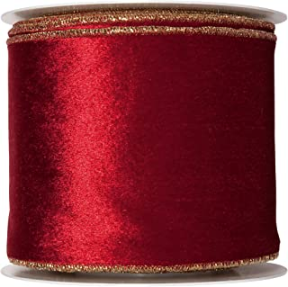 FloristryWarehouse Wine Red Christmas Velvet fabric ribbon 4 inches wide x 9 yards roll Gold Wired edge