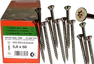 500 St/ück Spanplattenschrauben 5,0 x 50 mm TX25 Teilgewinde Holzschrauben Universal Schrauben Q200 Torx verzinkt gelb