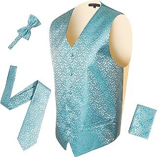 Mens 5 Button Adjustable Paisley Floral Design Vest Set