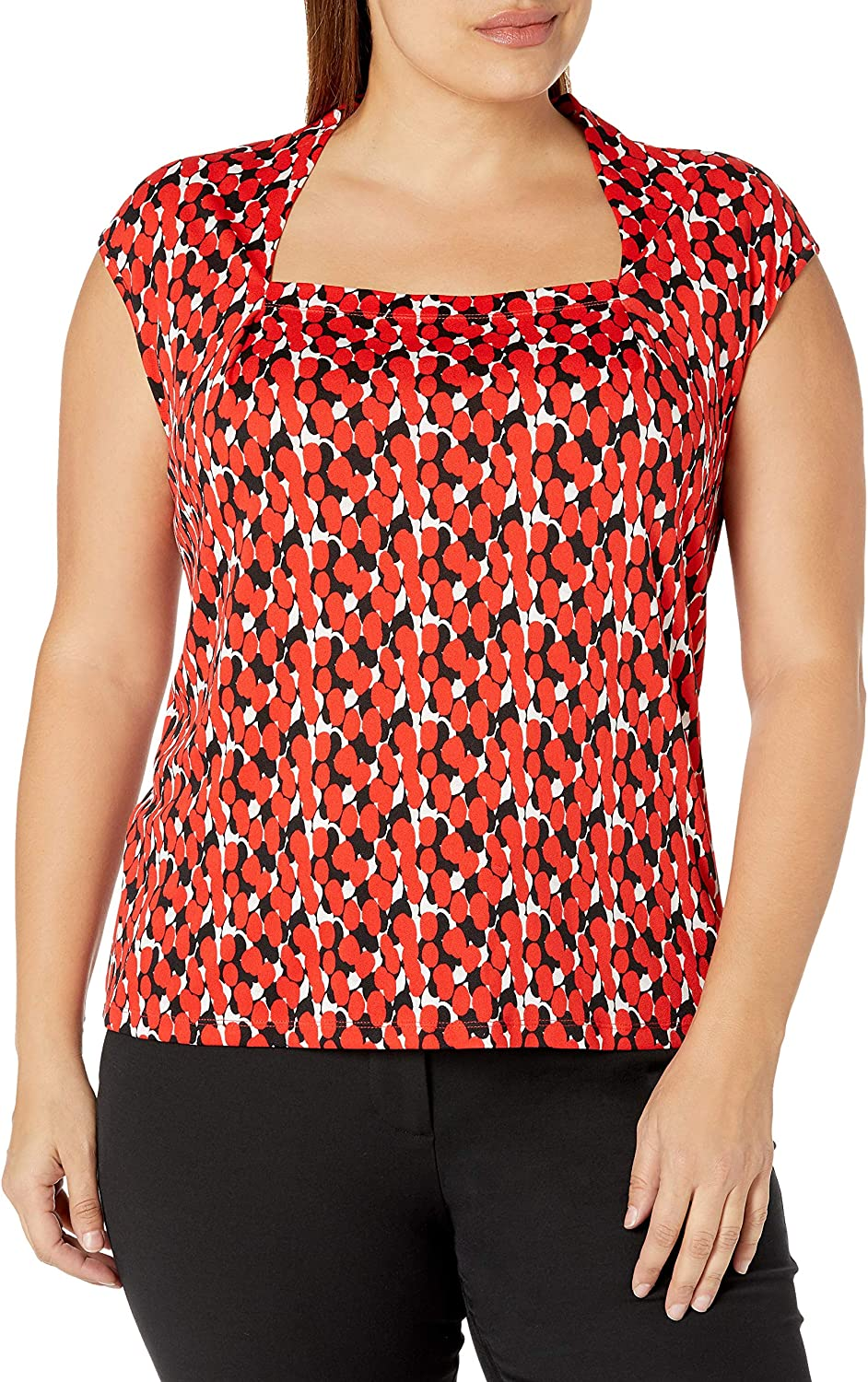 Kasper Women's Popular shop Sacramento Mall is the lowest price challenge Printed Moss Crepe Cami Neck Square