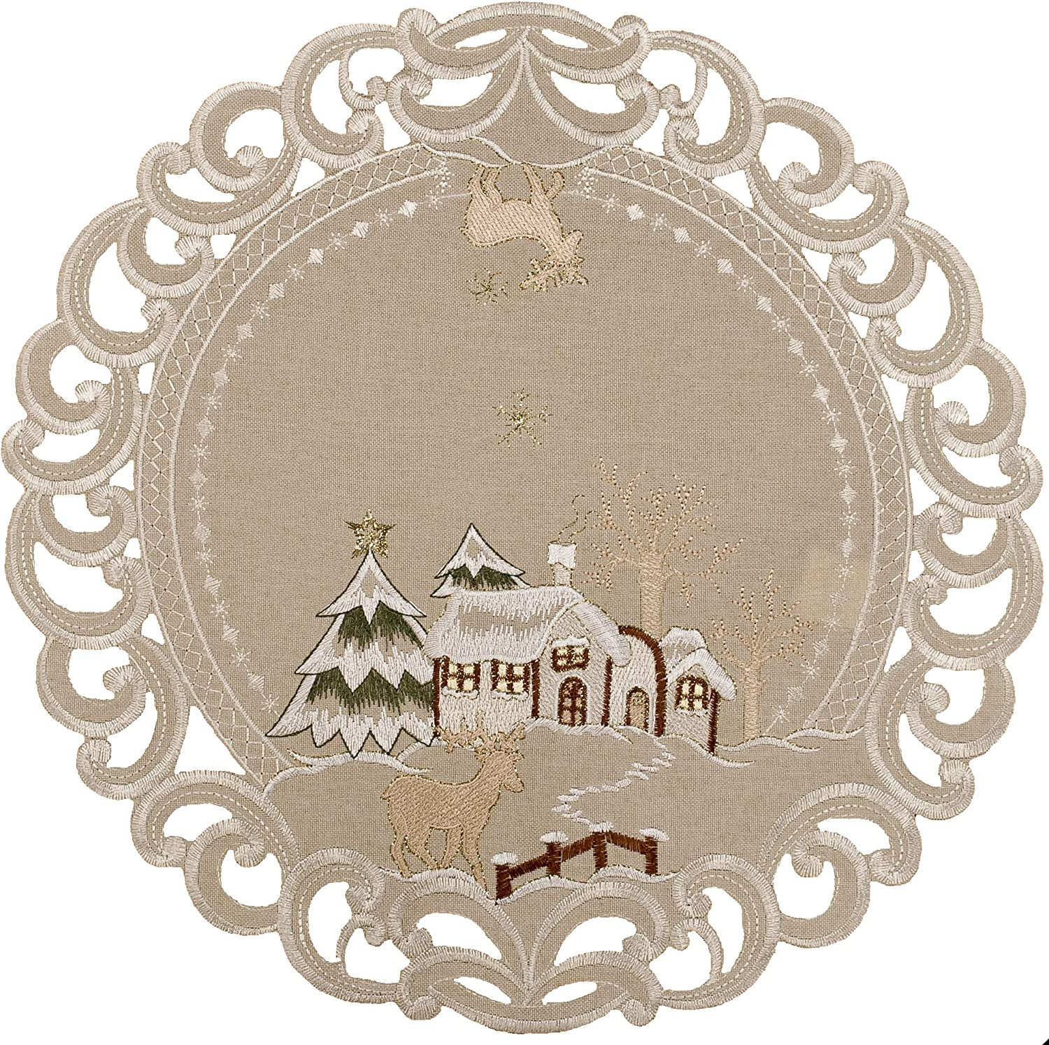 Embroidered Beige shopping Christmas Winter Snow Place Max 44% OFF Scene Doily Co Mat