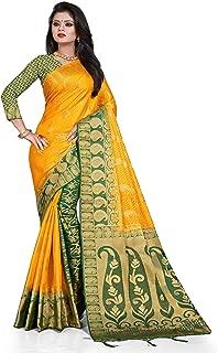 Latest Banarasi Silk South Indian Saree with Golden Dual Border