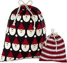 Hallmark Drawstring Christmas Gift Bag Set (2 Fabric Bags with Drawstrings; 1 Medium 10