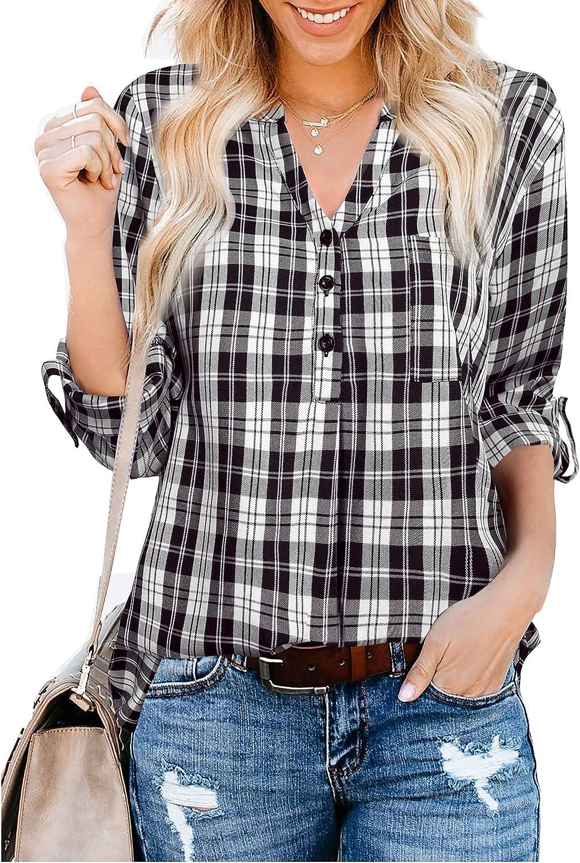 Gaharu Women's Long/Roll Up Sleeve Plaid Shirts Button V Neck Blouse Tunic Top