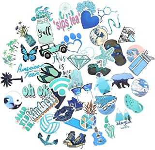 Stickers for Water Bottle, VSCO Stickers for Hydro Flask, 50 Pcs Laptop Stickers Blue Waterproof Stickers for Hydroflasks Macbook iPad Luggage Guitar Skateboard Cute Vinyl Aesthetic Stickers for Teen
