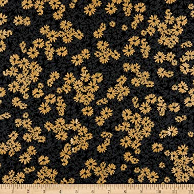 Kanvas Shimmer & Shine Shimmery Shadow Flower Blkgold Quilt Fabric By The Yard