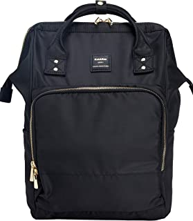 Kah&Kee Nylon Backpack Diaper Bag with Laptop Compartment Waterproof Work Travel School for Women Man (Black)