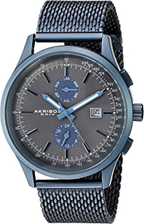 Akribos XXIV Designer Men's Watch – Multifunction Quartz Stainless Steel Mesh Bracelet Wristwatch with Date, 24 Hour and Tachymeter