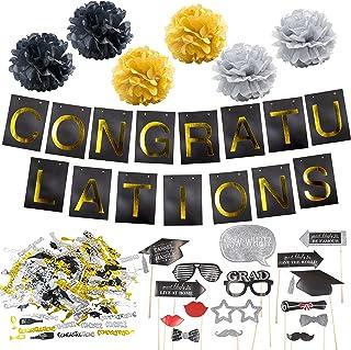 Graduation Party Supplies Bundle, Graduation Banner Sign, Graduation Photo Booth Props, Graduation Pom Poms and Graduation...