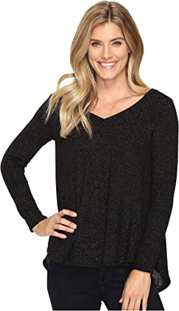 Black Glitter V-Neck Tunic with Back Pleat