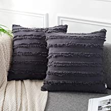 AmHoo Pack of 2 Cotton Linen Tassel Throw Pillow Covers Boho Home Decorative Square Pillowcases Soft Cushion Cover with SBS Hidden Zipper,18x18 inches,Grey