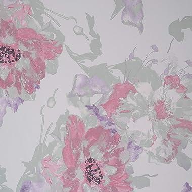 Fabtrends Hi Multi Chiffon Floral Peony Mint Pink Fabric 3 Yards