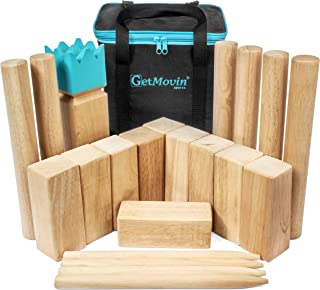 GETMOVIN SPORTS Kubb Viking Chess Fun Outdoor Yard Game Premium Rubberwood Set, Giant Board Game for The Beach, Lawn, or Party