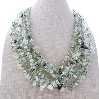 Collana multi filo con prehnite verde, collana torchon, gioielli moderni, bijoux pietre dure, creazioni artigianali