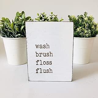 Etch & Ember Funny Bathroom Signs - Wash Brush Floss Flush - Farmhouse Style Decor - Rustic Wood Sign - 5.5