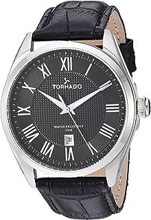 Tornado Men's Black Dial Leather Band Watch - T8007-SLBB