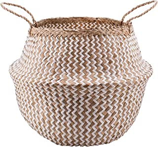 Natural Plush Woven Seagrass Tote Belly Basket Storage Laundry, Plant Basket, Plant Pot Cover Beach Bag (Seagrass Natural & White Zig Zag Pattern, Extra Large)