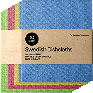 Swedish Dishcloth Cellulose Sponge Cloths - Bulk 10 Pack of Eco-Friendly No Odor Reusable Cleaning Cloths for Kitchen - Ab...