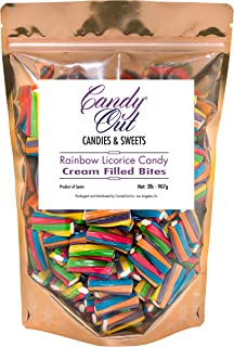 CandyOut Rainbow Twisters Licorice Candy Bites 2 Pounds Cream Filled Candy
