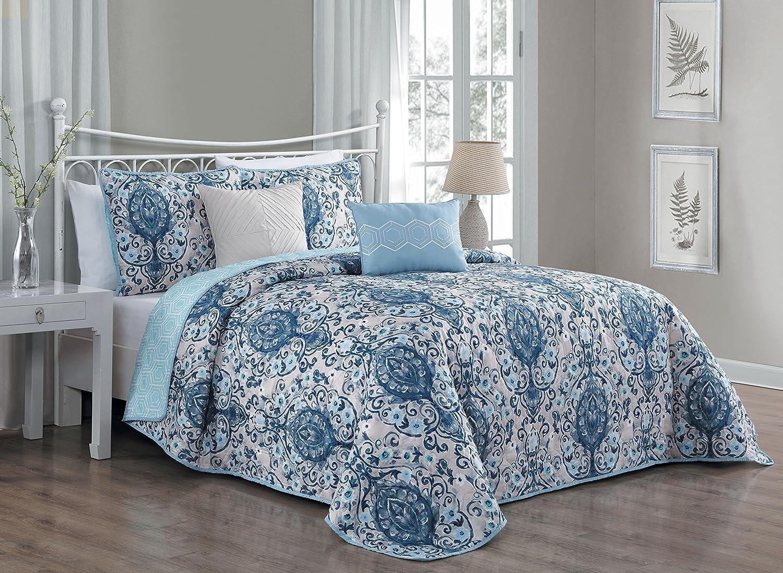 Avondale Manor Trista 5-Piece Quilt Set, King, bluee