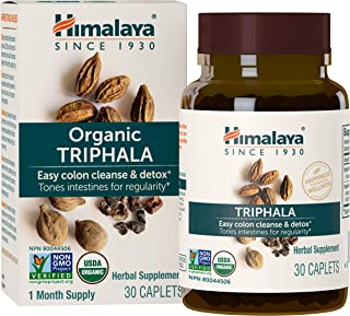 Himalaya Organic Triphala, Colon Cleanse & Digestive Supplement for Occasional Constipation, 688 mg, 30 Caplets, 1 Month S...