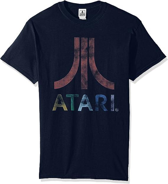 Atari Distressed White Logo Mens T-Shirt